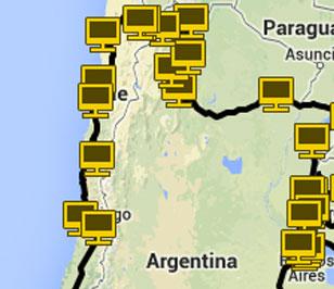La ruta per l'Argentina i Xile