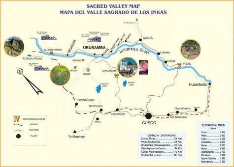 Mapa del valle sagrado de los Inkas