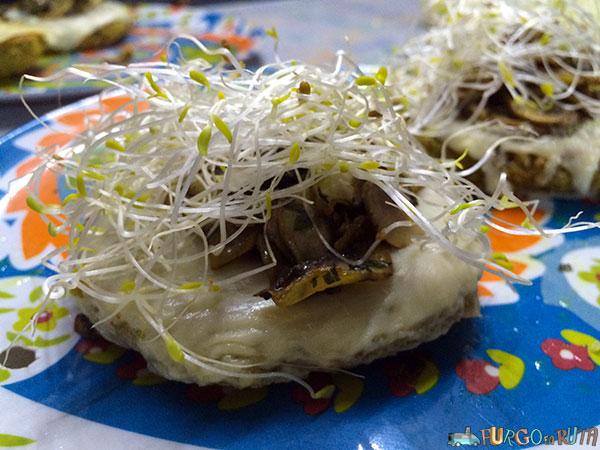 Hamburguesas de lentejas germinadas y champiñones