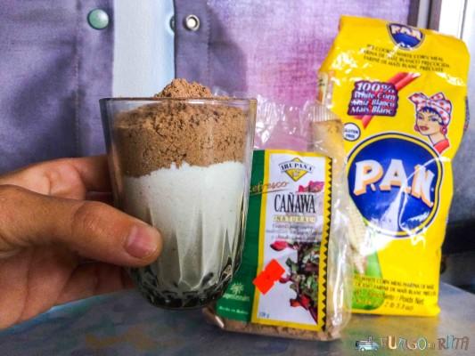 Preparado de harina PAN de maíz, con un poco de harina de kañawa