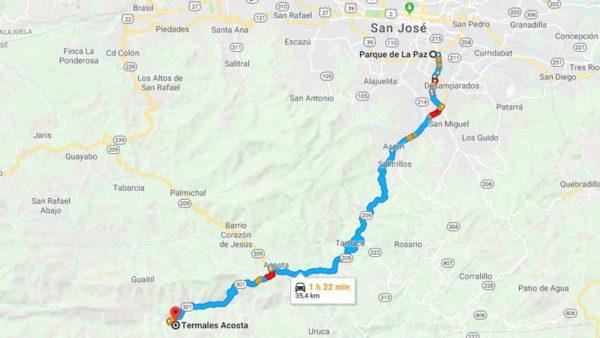 Mapa para llegar a Termales Acosta Costa Rica