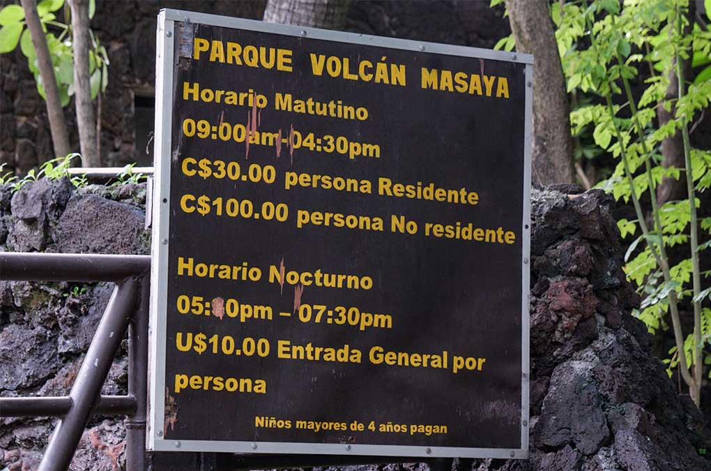 Precios de entrada al Parque Nacional Volcán Masaya