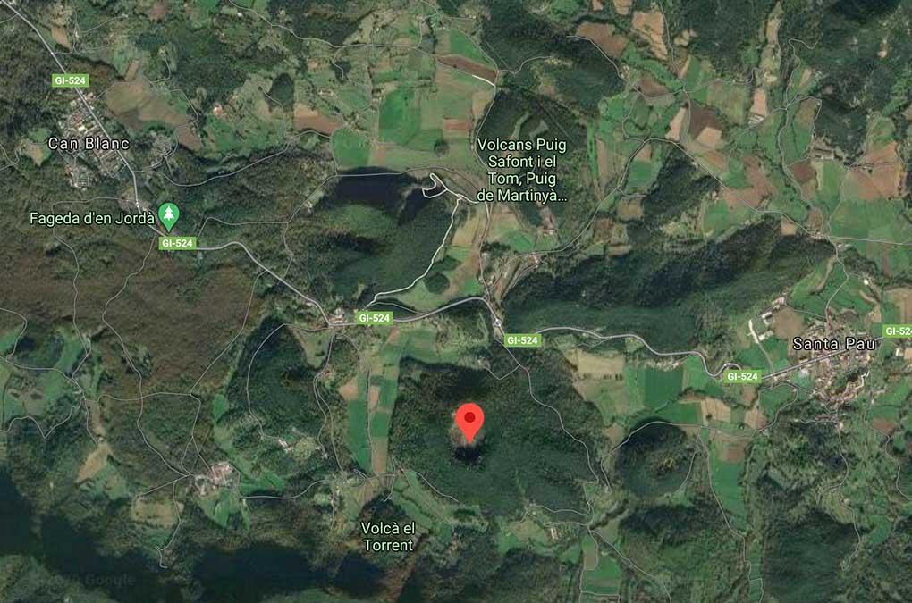 mapa de la zona volcánica de la garrotxa