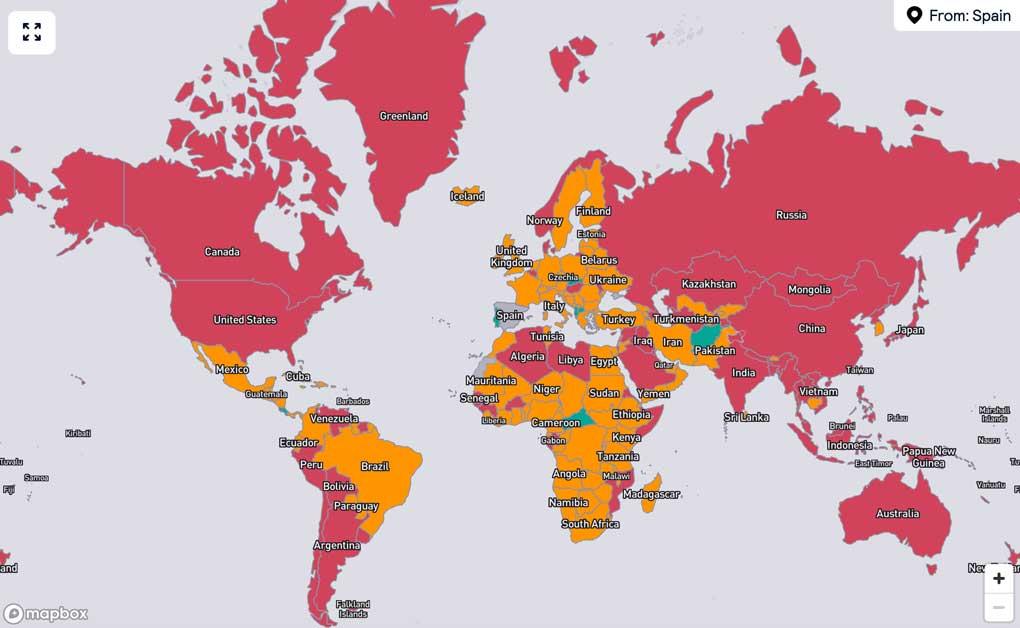 Mapa interactivo de Skyscanner desde España. Se puede viajar a Cancún con restricciones.